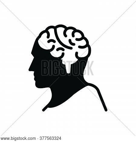 Black Solid Icon For Brain Mind Brainstorm Psychology Organ Intelligence Genius Think Human