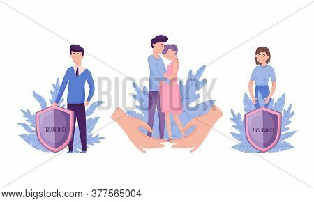 People Characters With Insurance Shield And Decorative Leaves Behind Vector Illustration Set