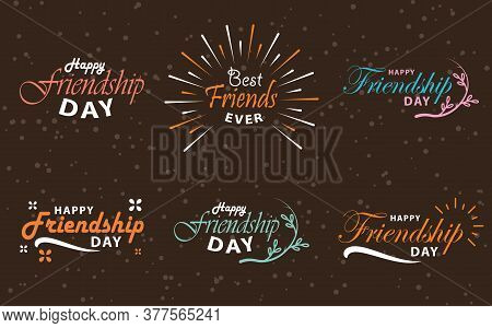 Happy Friendship Day Vector Typographic Colorful Design. Hand Written Brush Lettering, Vintage Retro