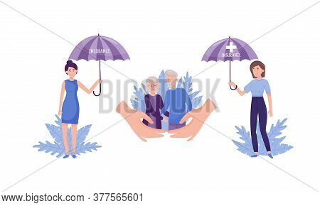 People Characters Walking Under Insurance Umbrella And Decorative Leaves Behind Vector Illustration