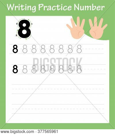 Writing Practice 8 For Printing A Sheet For Preschool. Digital Writing Practice - 8. A Math Game For