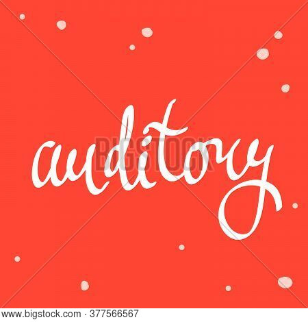 Auditory. Vector Design Illustration. Video Logo Sticker. Banner Background.