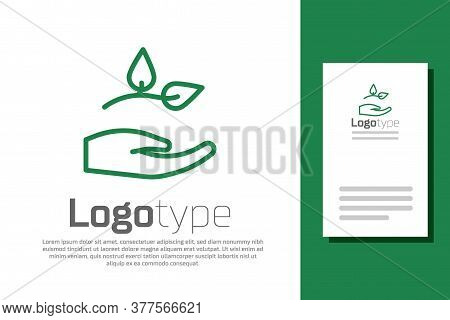 Green Line Leaf In Hand Of Environmental Protection Icon Isolated On White Background. Seed And Seed
