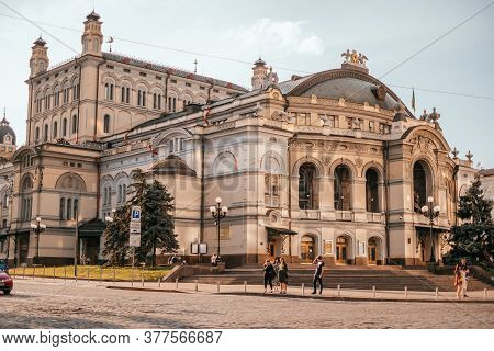 Kyiv, Ukraine - June 6, 2020: Facade Of The National Opera Of Ukraine In Kyiv.