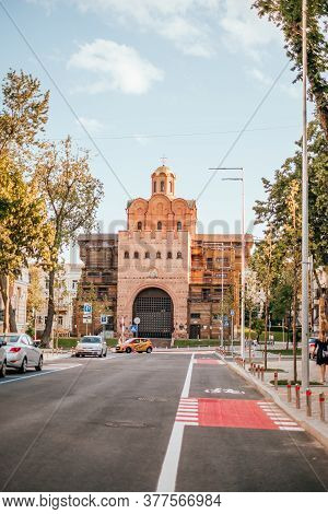 Kyiv, Ukraine - June 6, 2020: The Golden Gate Fortification, Famous Touristic Place In Kyiv, Ukraine