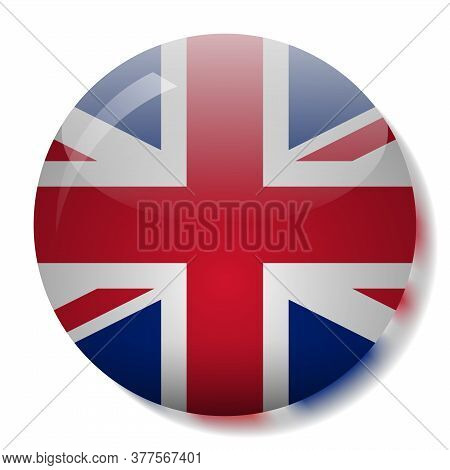 United Kingdom Flag Glass Button Vector Illustration