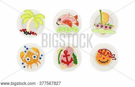 Food Arranged In The Shape Of Pirate And Fish On Plate Above View Vector Illustration