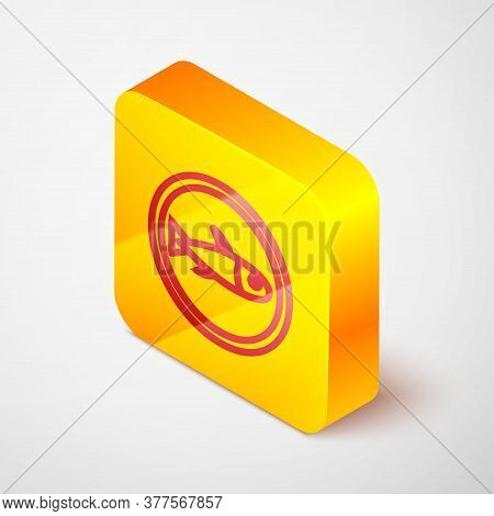 Isometric Line Served Fish On A Plate Icon Isolated On Grey Background. Yellow Square Button. Vector