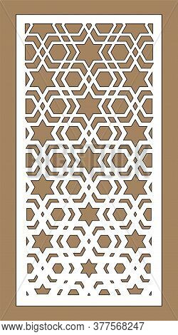 Arabic Islamic Decorative Wall, Screen, Panel Pattern With Stars. Vector Template. Decorative Vector