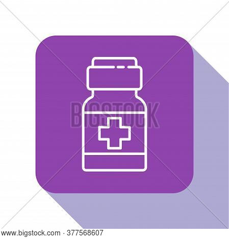 White Line Medicine Bottle And Pills Icon Isolated On White Background. Medical Drug Package For Tab