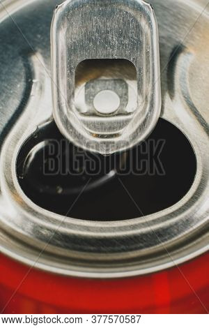 Can Of Soda Lemonade Macro View. Stay-on-tab Opening Mechanism On An Aluminum Beverage Can.