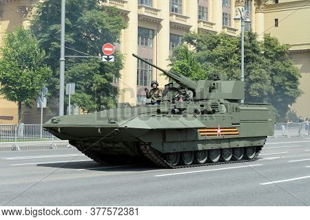Moscow, Russia - June 24, 2020: T-15 Infantry Fighting Vehicle On The Armata Platform On A Moscow St