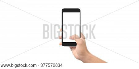 Hand Holding Smartphone Device And Touching Screen