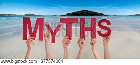 People Hands Holding Word Myths, Ocean Background