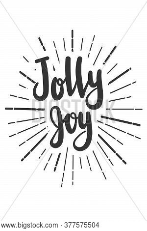 Jolly Joy Christmas Wishes Lettering In Doodle Style. Vector Festive Illustration. Christmas Wish Te