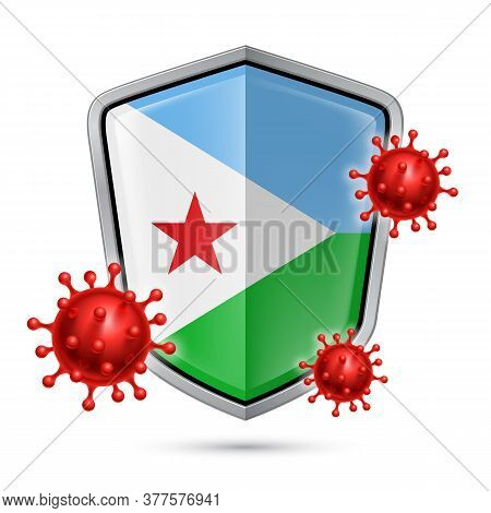 Flag Of Djibouti On Metal Shiny Shield Icon And Red Corona Virus Cells. Concept Of Health Care And S