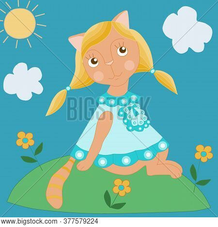Cat Character Illustration. A Fabulous Cat In A Clearing Is Basking In The Rays Of The Sun Among The