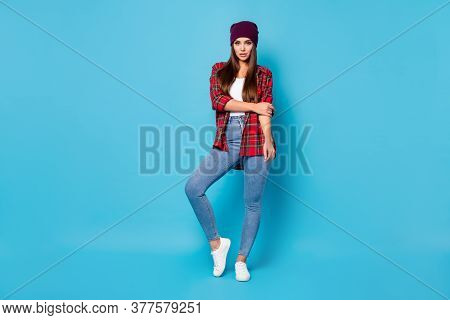 Full Length Body Size View Of Her She Nice Attractive Lovely Pretty Long-haired Girl Wearing Checked