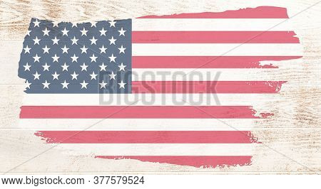 Wooden Boards United States Flag. United States Flag On Wooden Surface. Old Vintage American Us Flag
