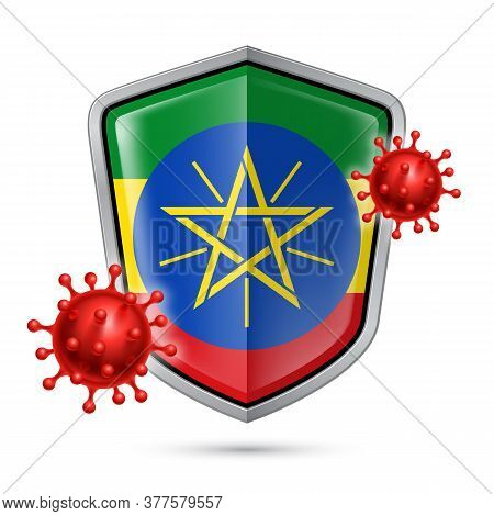 Flag Of Ethiopia On Metal Shiny Shield Icon And Red Corona Virus Cells. Concept Of Health Care And S