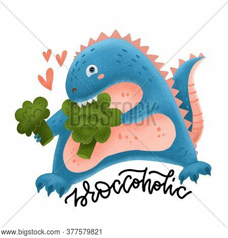 Cute And Smiling Dinosaur Biting Broccoli. Dino Loves Vegetables. Healthy Food Textured Concept With