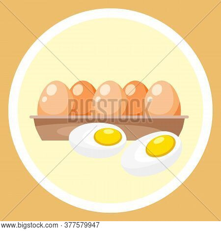 Hard Boiled Sliced Egg With The Yellow Yolk And The White Albumen In Container Isolated On Yellow Ba