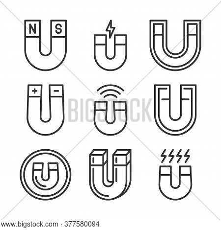 Magnet Icons Set. Magnetism And Magnetic Equipment. Vector