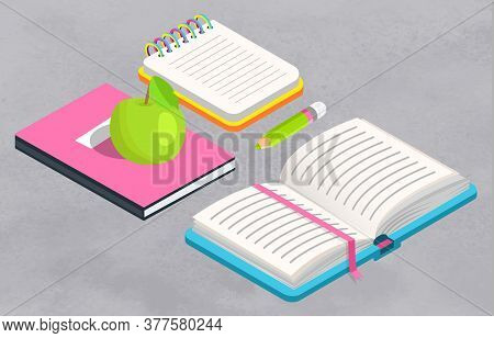 Notebook And Textbook Vector, Isolated Book With Snake, Back To School Concept. Flat Cartoon Of Appl