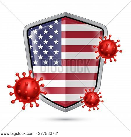 Flag Of Usa On Metal Shiny Shield Icon And Red Corona Virus Cells. Concept Of Health Care And Safety