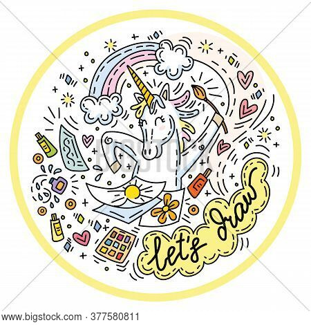 Funny Cute Unicorn In Good Mood Enjoy Drawing. Colorful Vector  Humor Character In Doodle Style In C