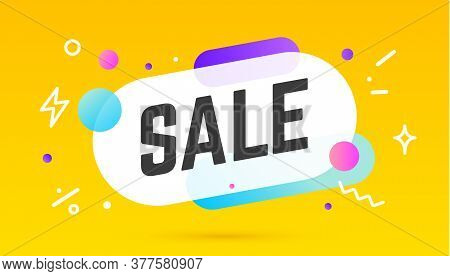 Sale, Speech Bubble. Banner, Poster, Speech Bubble With Text Sale. Geometric Memphis Style With Mess