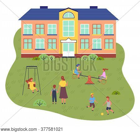 Illustration Of Preschool Building. Cartoon House. Playground With Children Playing. Swings, Carouse