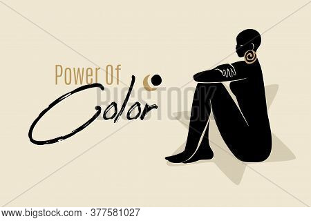 Power Of Color Banner Template With Sitting African American Woman Silhouette. Modern Vector Abstrac