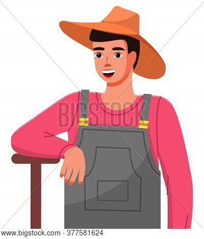 A Young Gardener In A Hat Is Leaning On A Garden Tool. Closeup Illustration Of A Gardener. Gardening