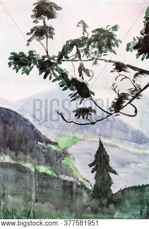 Vertical Mountain Landscape With Pink Sunset In Bavarian Alps Near Schliersee Hand Painted By Waterc