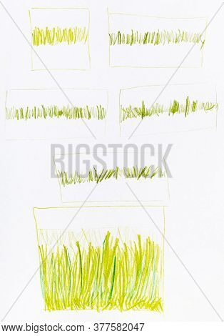 Successive Training Sketches Of Sun-bleached Grass Hand-drawn By Green And Yellow Pencils On White P