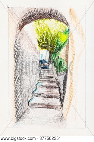 Sketch Of Passage With Steps In Medieval Town In Summer Hand-drawn By Color Pencils On Creamy Paper