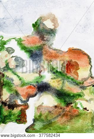 Abstract Painting - Path On Mountainside Overgrown With Moss And Heather In Natural Reserve On Pink