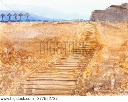 Wooden Footpath On Sand Beach In Algarve Region Of Portugal On Summer Day Hand Painted By Watercolou