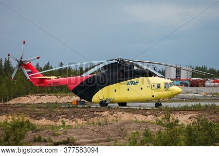 Novyy Urengoy, Russia - June 30, 2020: Heavy Lift Cargo Helicopter Utair Mil Mi-26t At The Air Field
