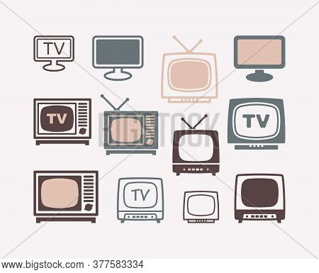 Tv Icons In Retro Style. Set Of Vector Illustrations