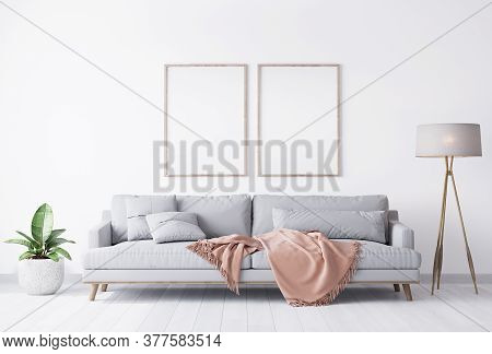 Bright White Living Room With White Sofa And Wooden Home Accessories, Poster Frame Mockup, 3d Illust