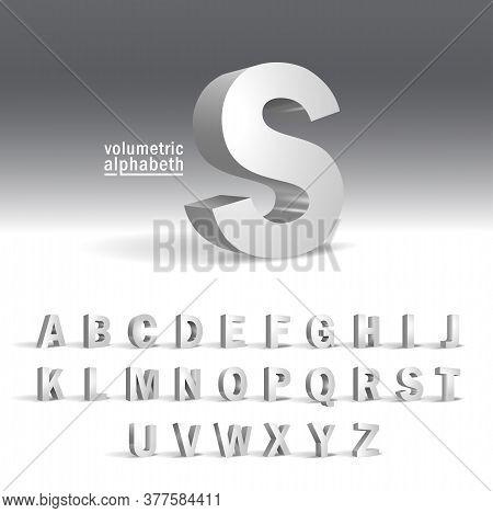3d Alphabet Template.volumetric Alphabet Design. Alphabet In Modern Style. Elegant Decoration.