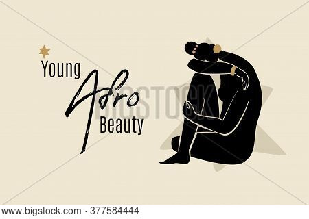 Young Afro Beauty Banner Template With Sitting African American Woman Silhouette. Modern Vector Abst