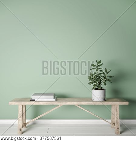 Mockup Interior On Green Background, Wooden Furniture In Farmhouse Style, 3d Illustration