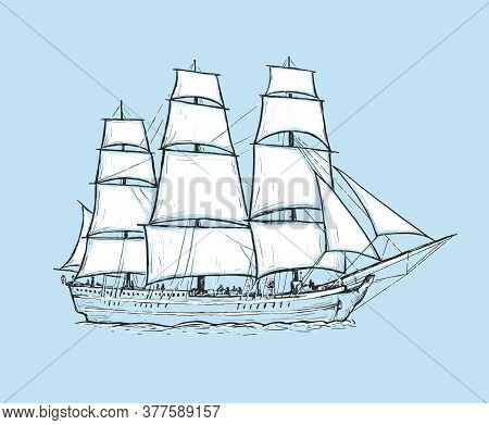 Sketch Hand Drawn Vector Sailboat. Vintage Frigate On The Sea On A Blue Background. Design Element F