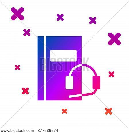 Color Audio Book Icon Isolated On White Background. Book With Headphones. Audio Guide Sign. Online L