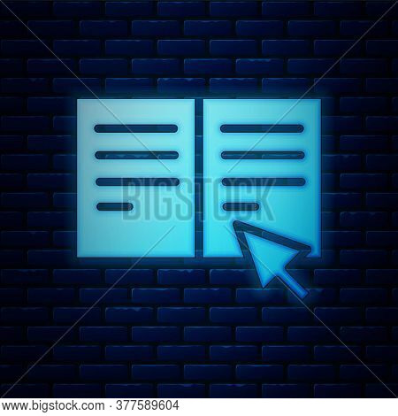 Glowing Neon Online Book Icon Isolated On Brick Wall Background. Internet Education Concept, E-learn