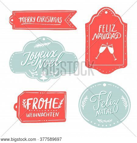Merry Christmas Gift Tags With Different European Languages Greetings. Feliz Navidad In Spanish, Fro
