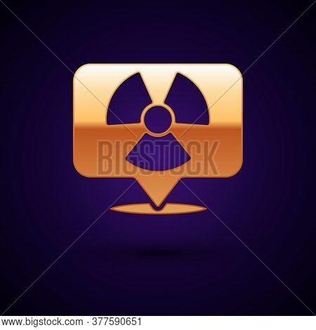 Gold Radioactive In Location Icon Isolated On Black Background. Radioactive Toxic Symbol. Radiation